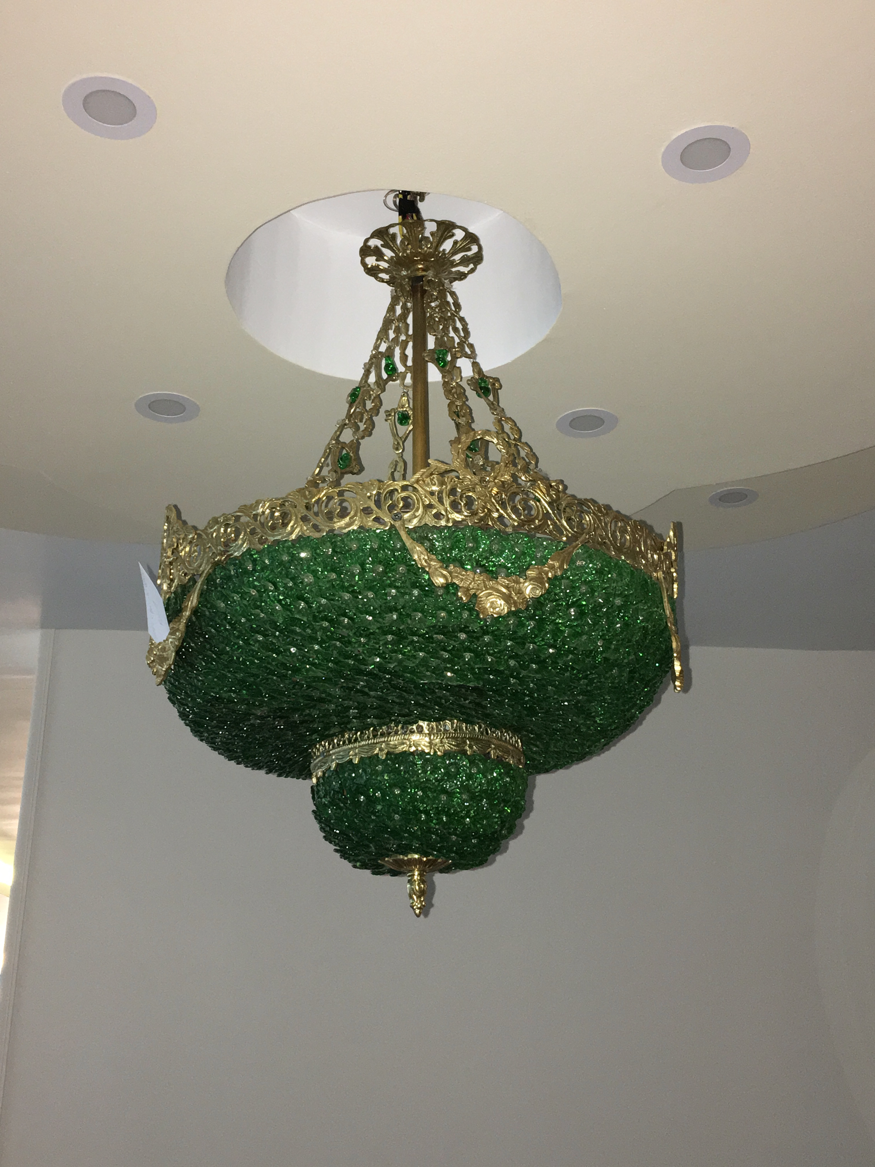 Zitaville home green crystal and bronze empire style chandelier aloadofball Images
